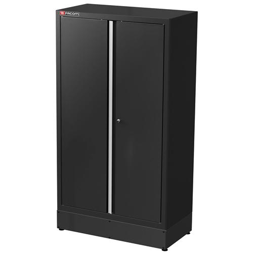 Álló szekrény zárt ajtós széles magas fekete
