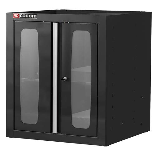 Álló szekrény üveg ajtós 810 mm fekete
